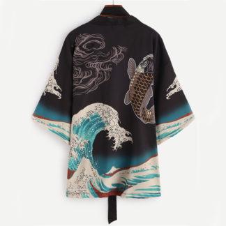 Kimono cardigan carpe hokusai satin (2)