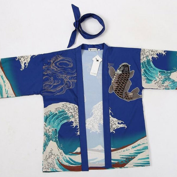 Kimono cardigan carpe motif japon ancien