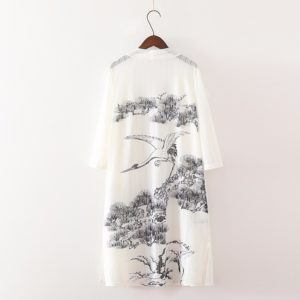 Kimono cardigan transparent grue (7)