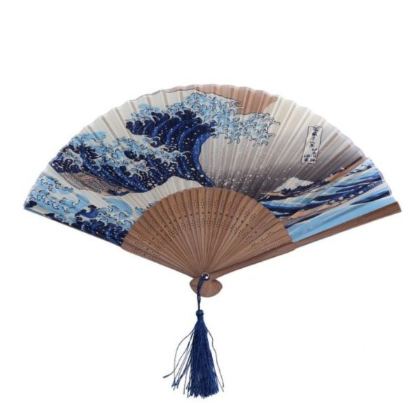 Éventail Hokusai la grande vague de Kanagawa