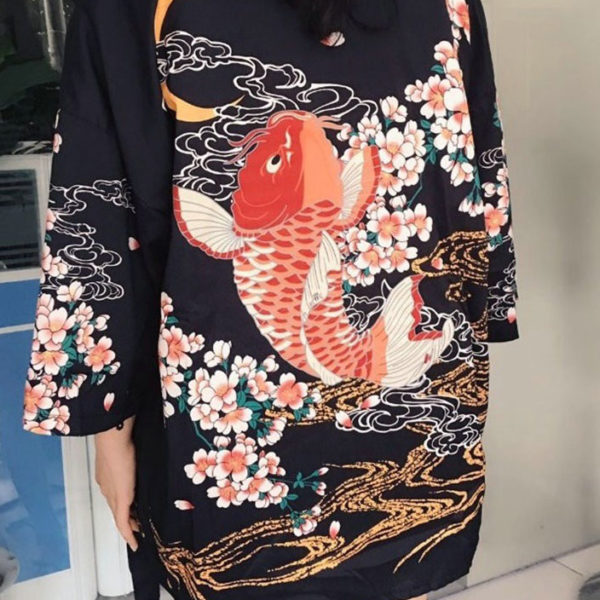 Yukata carpe koi design japonais la boutique du japon for Koi en japonais