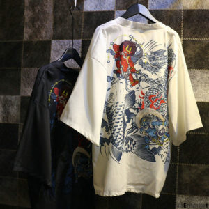 Yukata dessin traditionnel Carpe Démons et Dragon
