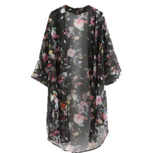 Kimono cardigan noir aux motifs de fleurs