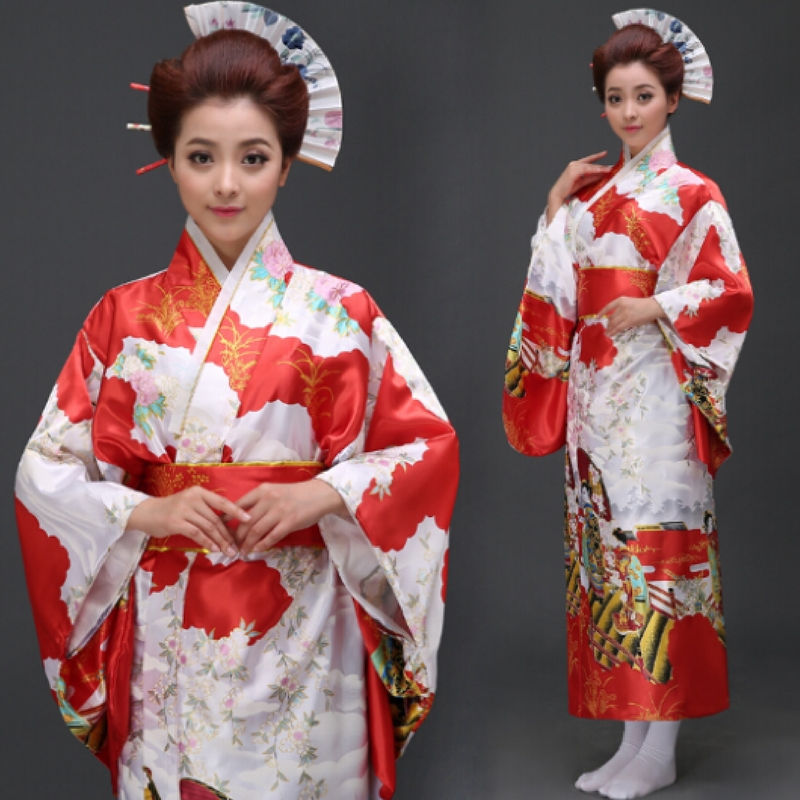kimono floral femme type yukata motif japon ancien rouge la boutique du japon. Black Bedroom Furniture Sets. Home Design Ideas