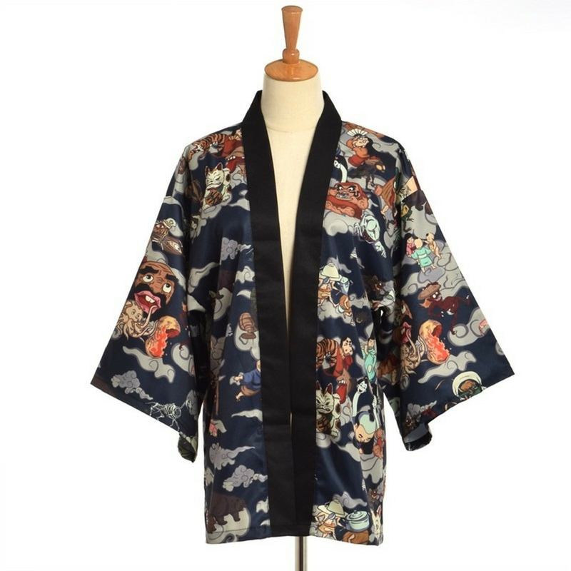 kimono homme type yukata aux motifs hyakki yako la boutique du japon. Black Bedroom Furniture Sets. Home Design Ideas