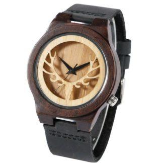 Montre en bambou tête de cerf et bracelet en cuir
