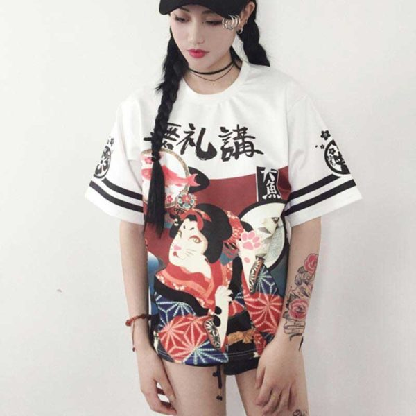 Tee-shirt-style-Harajuku-Neko-Blanc-2