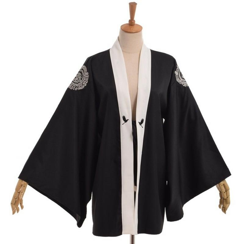 Yukata noir au mod le de grue la boutique du japon - La boutique du japon ...