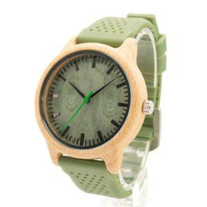 Montre en bambou avec bracelet en silicone
