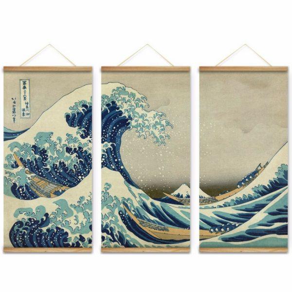 Triptyque sur la Grande Vague de Kanagawa