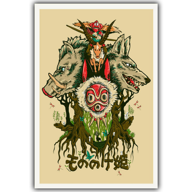 poster princesse mononoke art 50cm 75cm la boutique du japon. Black Bedroom Furniture Sets. Home Design Ideas
