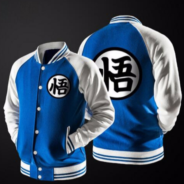 veste baseball inspiration dragon ball bleue et blanche la boutique du japon. Black Bedroom Furniture Sets. Home Design Ideas