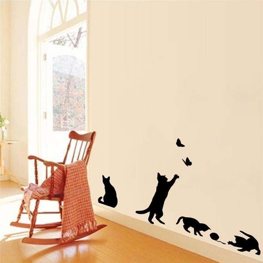 Autocollant mural jeu de chat la boutique du japon for Autocollant mural