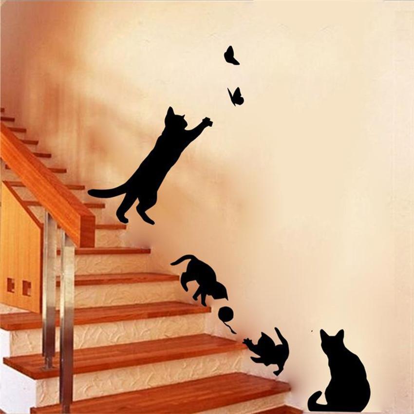 autocollant mural jeu de chat la boutique du japon. Black Bedroom Furniture Sets. Home Design Ideas