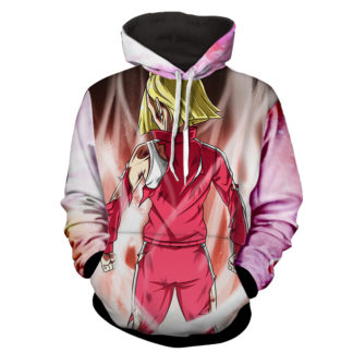 Hoodie Dragon Ball cosmos C18 posture rose