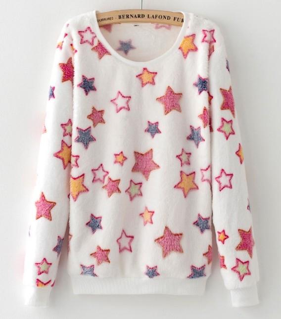 Pull flanelle blanc étoile