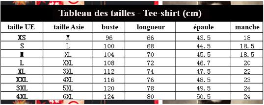 Tableau des tailles tee-shirt 3D boutique site du Japon