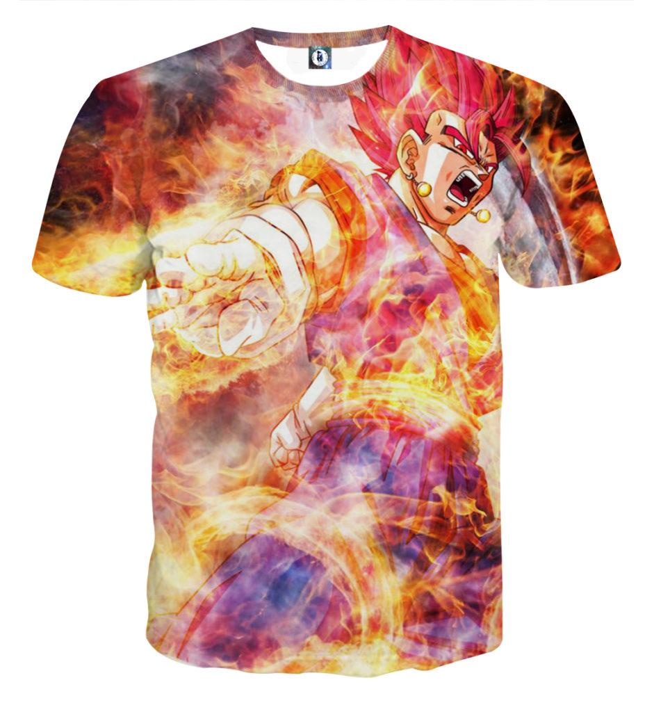 Tee shirt Dragon Ball San Goku Kaioken god furie