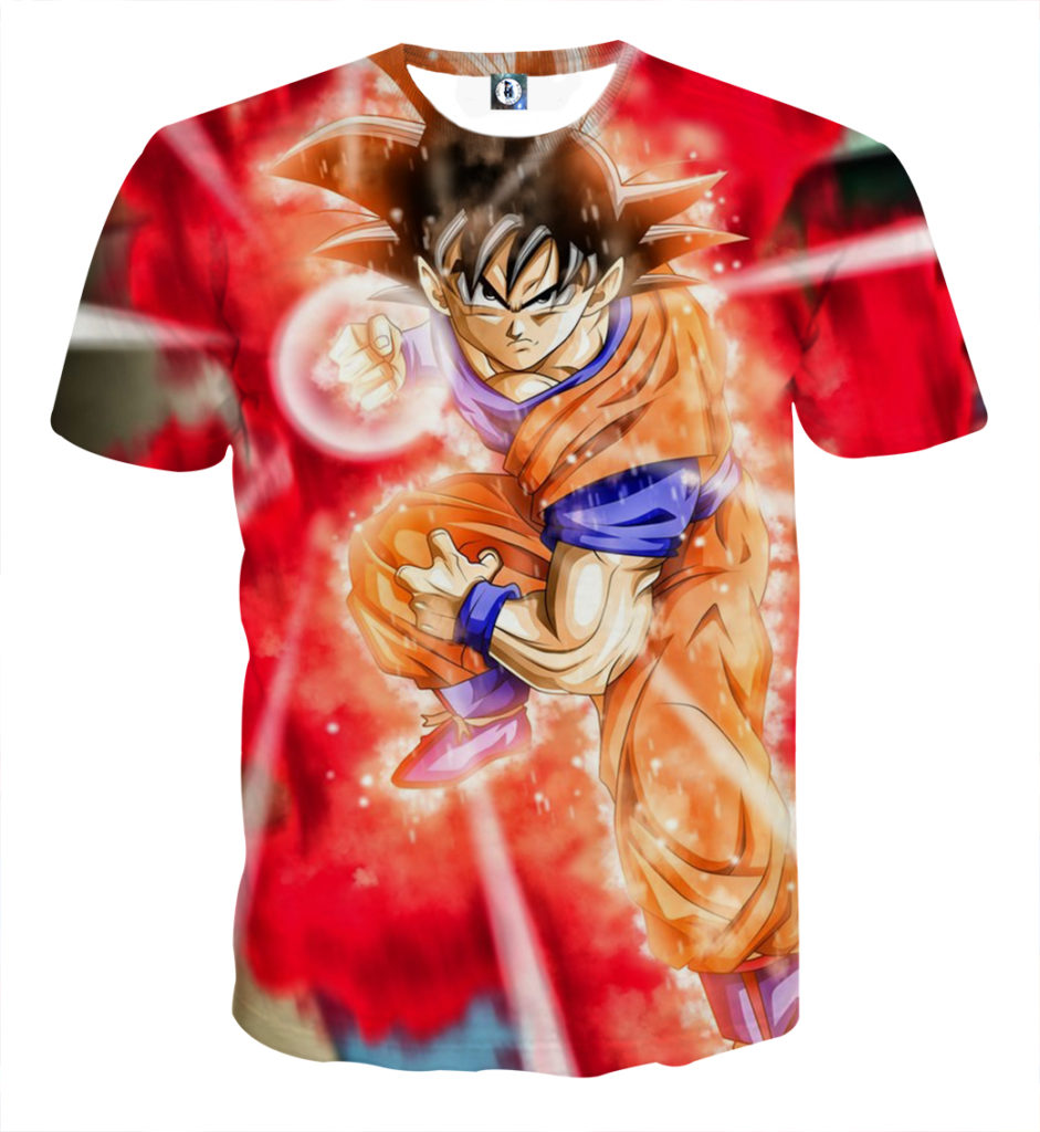 Tee shirt Dragon Ball San Goku God Kamehameha explosion