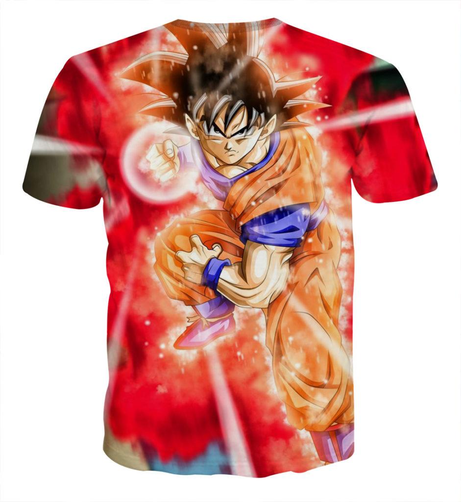 Tee shirt Dragon Ball San Goku God Kamehameha explosion dos