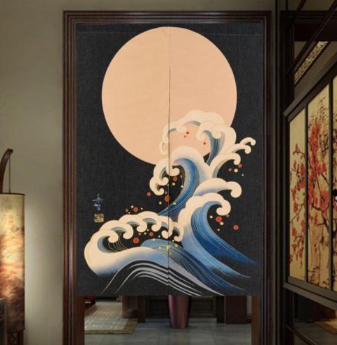 rideaux japonais vague sous la lune 85 120 cm la boutique du japon. Black Bedroom Furniture Sets. Home Design Ideas