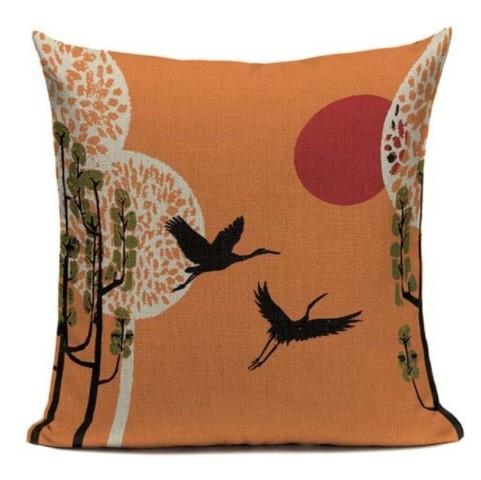 taie d 39 oreiller japon artistique vol de grue 45 45cm la boutique du japon. Black Bedroom Furniture Sets. Home Design Ideas