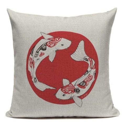 taie d 39 oreiller japon artistique jeu de carpe 45 45cm la boutique du japon. Black Bedroom Furniture Sets. Home Design Ideas