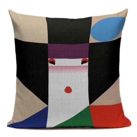 taie d 39 oreiller japon artistique moderne dame 45 45cm la boutique du japon. Black Bedroom Furniture Sets. Home Design Ideas