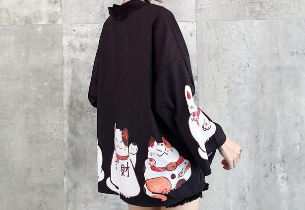 Kimono cardigan Maneki Neko Noir