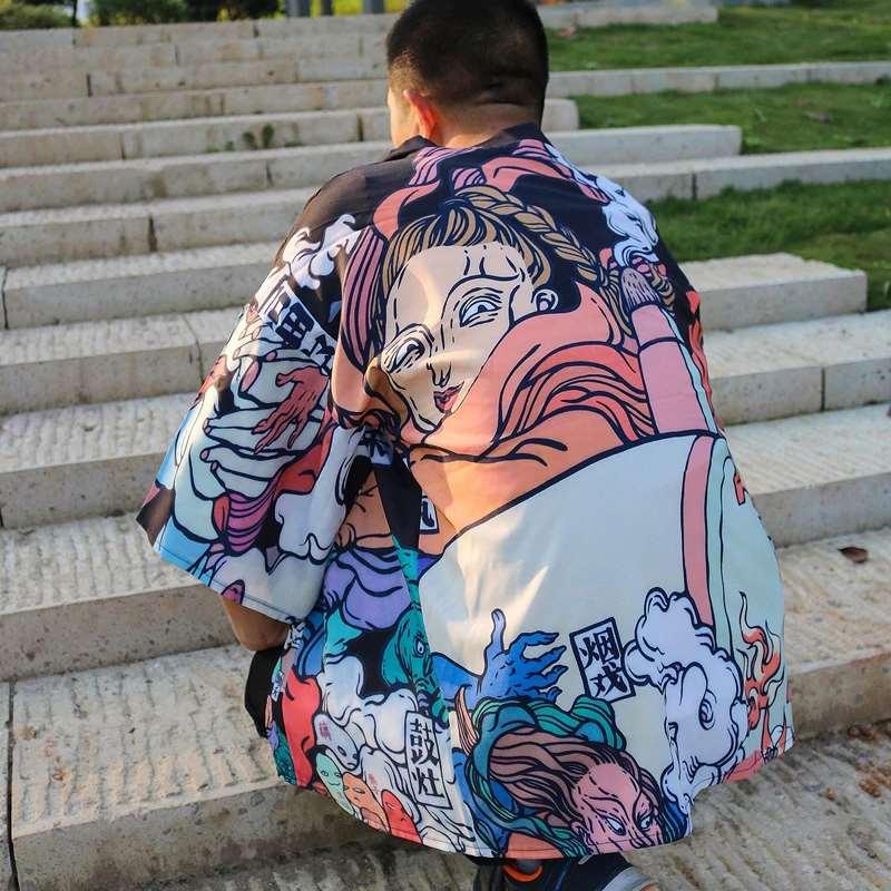 modèle noir - Kimono cardigan homme Yokai et fumée